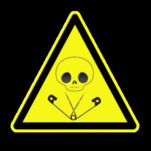 Señal de tóxico con imperdibles